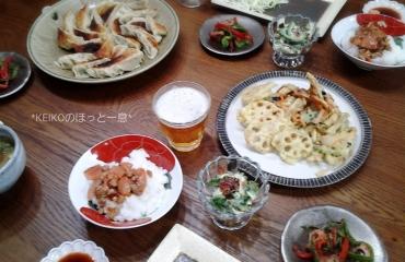 餃子と天ぷらの晩ごはん