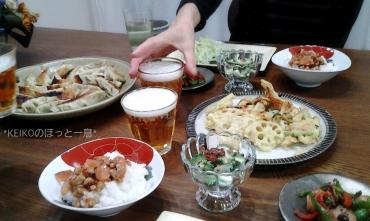 餃子と天ぷらの晩ごはん2