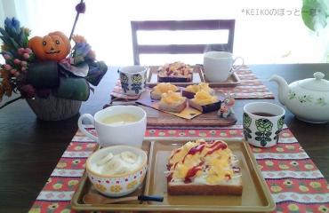 たまご&キャベツと柿&チーズのオープンサンド