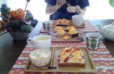 たまご&キャベツと柿&チーズのオープンサンド2