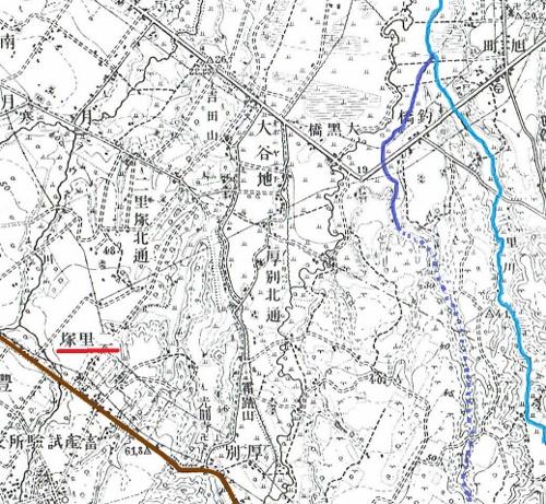大正5年地形図 二里塚周辺