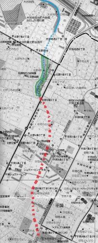 現在図 平岡 桜川 推定河道
