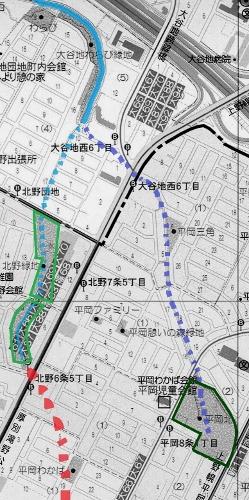 現在図 平岡 二里川 旧河道
