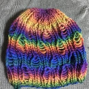 20161002 帽子 レインボードロップ ニットキャップ