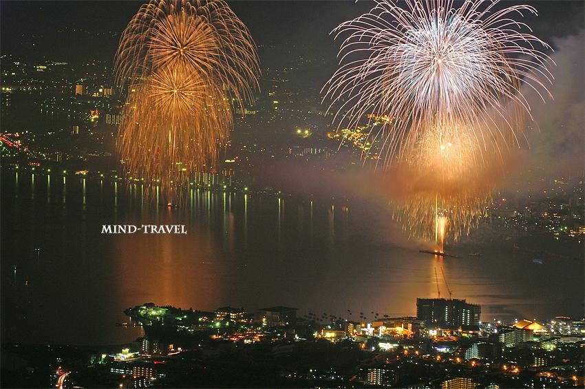 比叡山より琵琶湖花火大会を望む