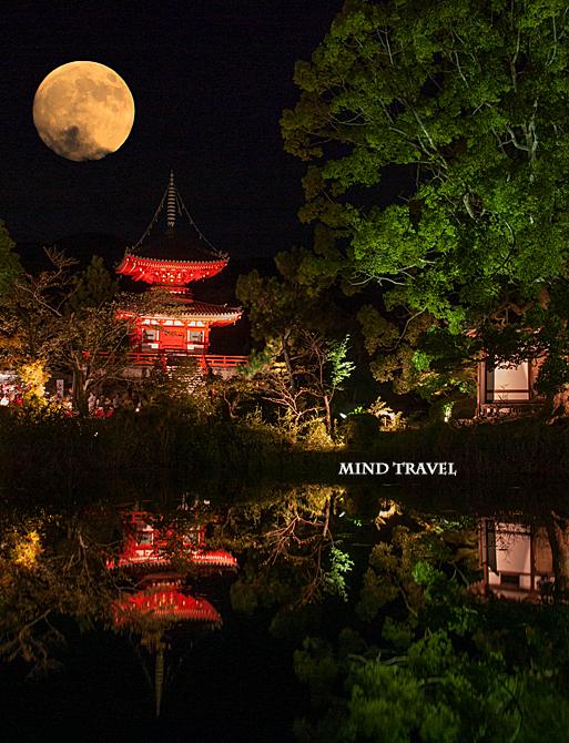大覚寺 多宝塔と月