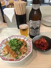 餃子の王将、ポン唐、ビール、キムチ