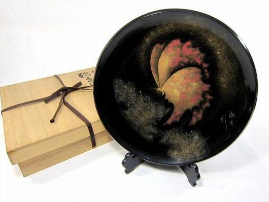 輪島塗「木の葉と蝶」 飾皿 小西啓介作