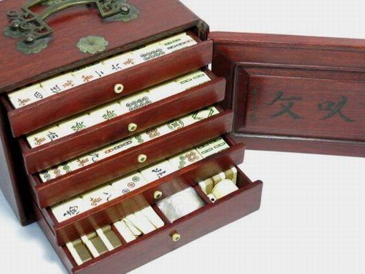 骨材 紫檀箱 麻雀牌 古玩