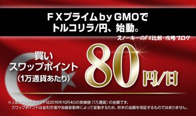 FXプライムbyGMOトルコリラ円スワップポイント