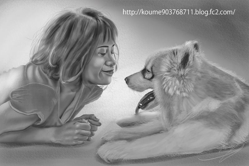 イラスト 犬 グリザイユ画法 01