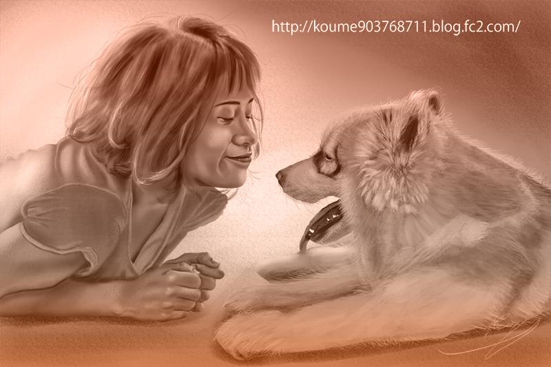 イラスト 犬 グリザイユ画法