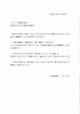 2016年(平成28年) お中元文章