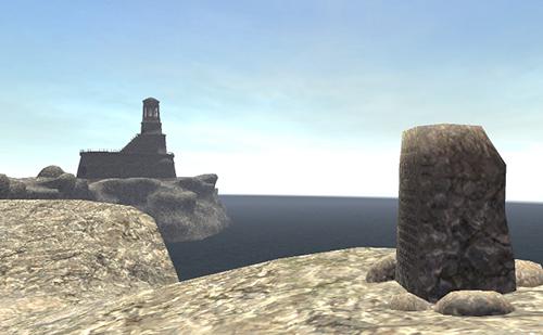 石碑とモルヒェン灯台