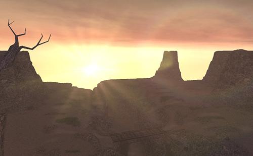 赤い夕日が映える