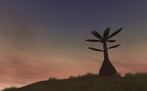 黄昏時の星降る丘