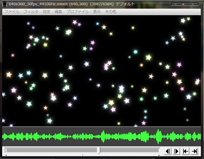 ランダムに配置された図形の軌道が音に合わせて変化する、背景素材系のカスタムオブジェクト。また、配置された図形はスクリーンの幅と高さで反射する。