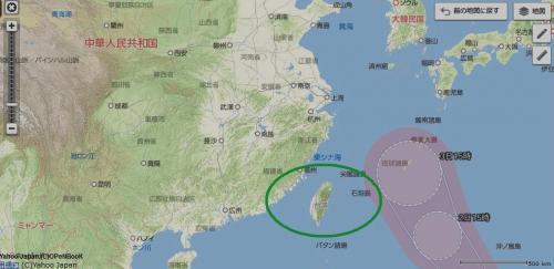 ヤフー地図 3 台湾との国境線なし_convert_20161001101604