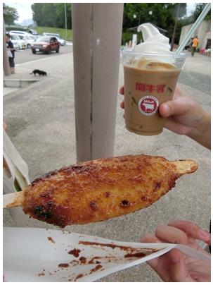 五平餅と関牛乳コーヒーフロート
