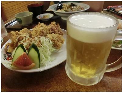 ビールと鶏からあげ