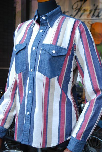MFS-2101 マルチストライプモトシャツ