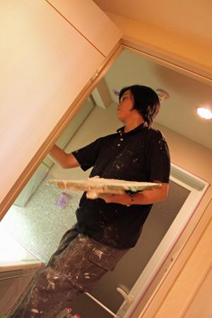 洗面所の漆喰塗