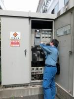東京電力から作業の下見に来館