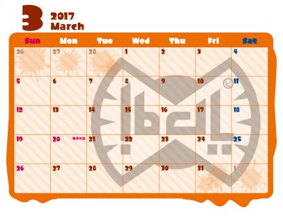 スプラトゥーン 2017年 カレンダー 3月