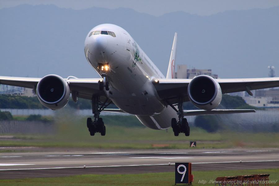JAL B777-346ER / JA734J@RWY14Rエンド・猪名川土手