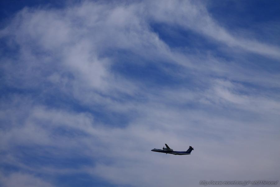ANA WINGS DHC-8-402Q / JA???A@RWY14Rエンド・猪名川土手