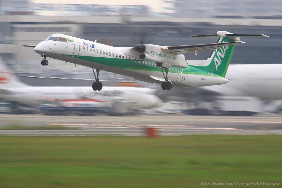 ANA WINGS DHC-8-402Q / JA856A@RWY14Rエンド・猪名川土手