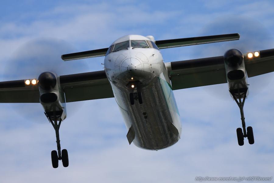 ANA WINGS DHC-8-402Q / JA858A@RWY32Lエンド・千里川土手