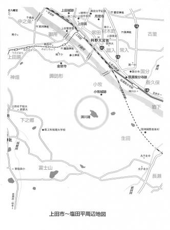 上田の地図東側 上原さんの本