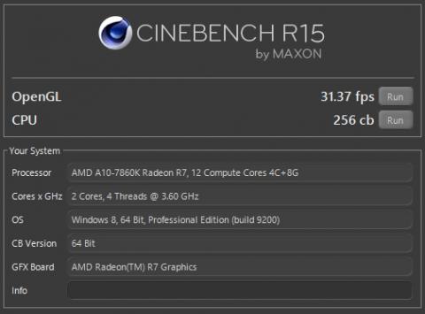 A10-7860K 定格 Cinebench R15 (2016年10月9日)