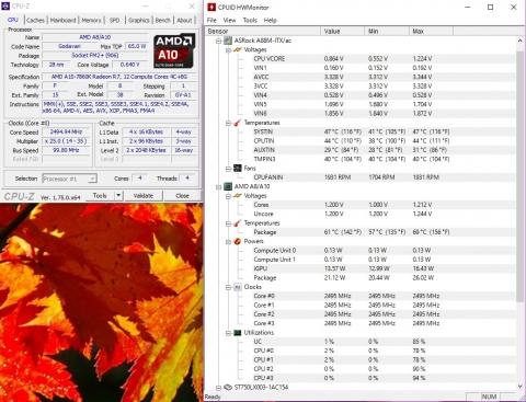 A10-7860K 2.50GHz/1.25V Idle (2016年10月9日)