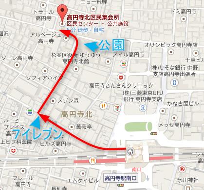高円寺北区民集会所の地図