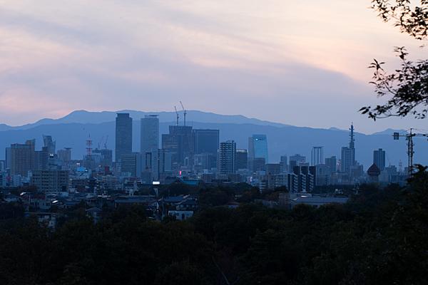 平和公園から見る名古屋駅方面風景