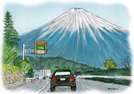車から見る富士山