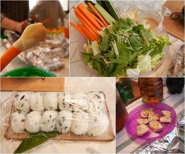 生野菜のサラダとおにぎり