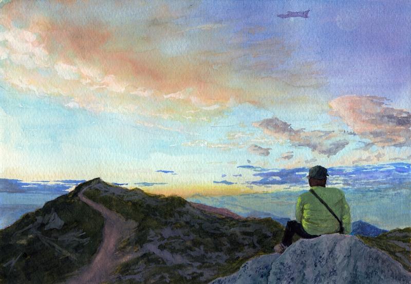 山の夜明け_R