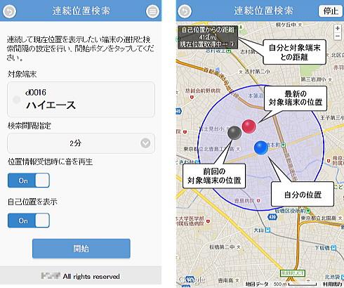 車両追跡システムgps、連続位置検索