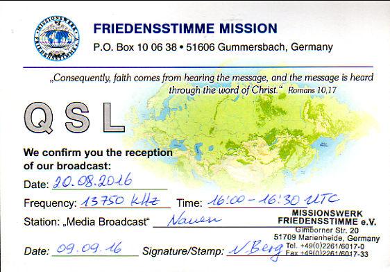 2016年8月20日 ロシア語放送受信 Missionswerk Friedensstimme(ドイツ)