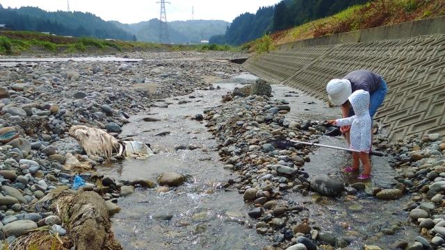 羽根川で水遊び