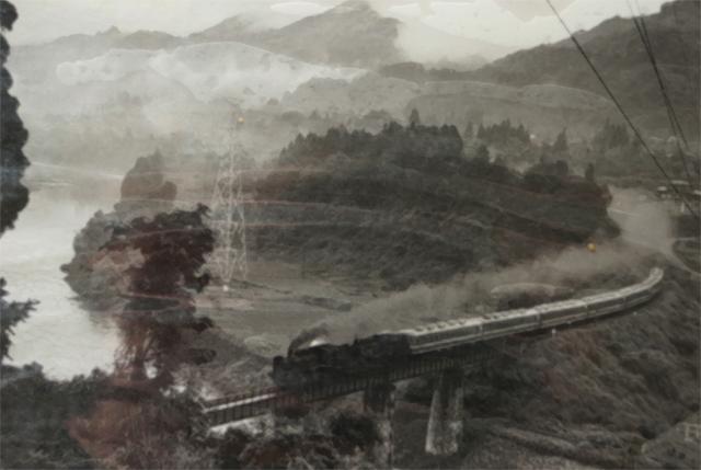信濃川鉄橋を渡るC56重連臨時列車