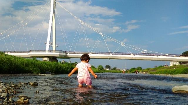 浅川のふれあい橋付近でチャプチャプ水遊び