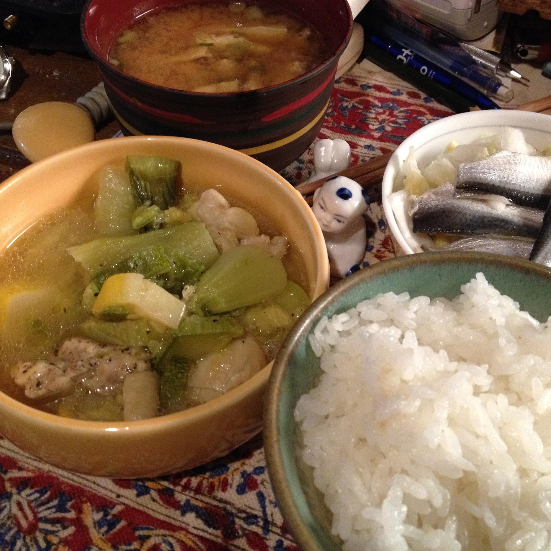 鶏とズッキーニと青梗菜の炊き定食