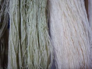 イヌビユで染めた綿糸