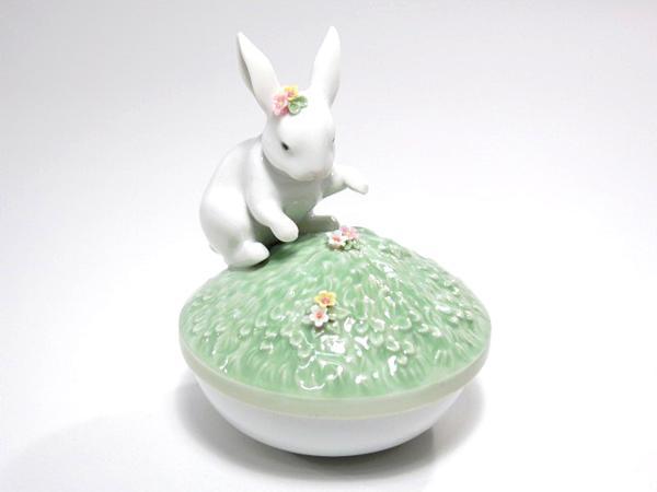 リヤドロ 花飾りのうさぎ 小物入れ 陶器 置物