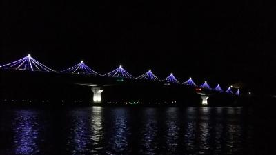 九島大橋イルミネーション、防波堤から