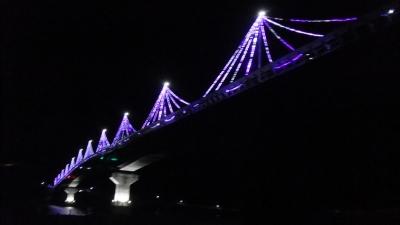 九島大橋イルミネーション、橋下から